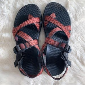 Chacos One Strap Toe Loop Red Sandals Size 9